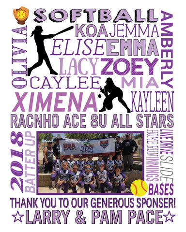 "Softball Team Custom Keepsake ""Thank you to our sponsors"""