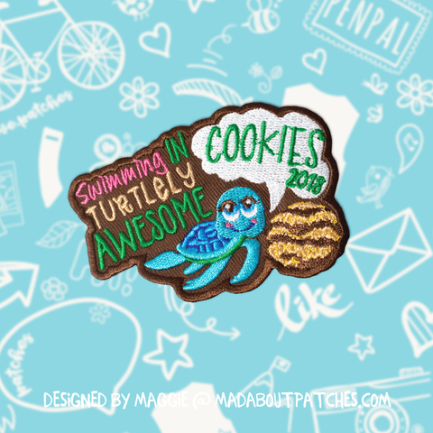 Swimming in TURTLELY AWESOME cookies 2018 Patch