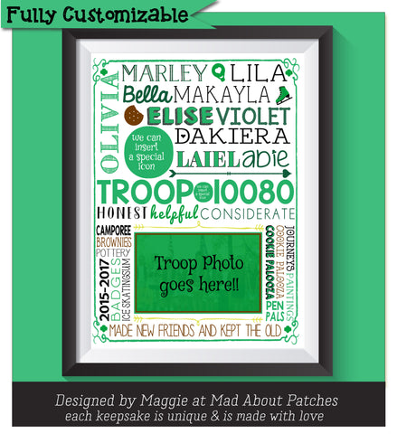 Personalized Girl Scouts Word Art Photo Keepsake
