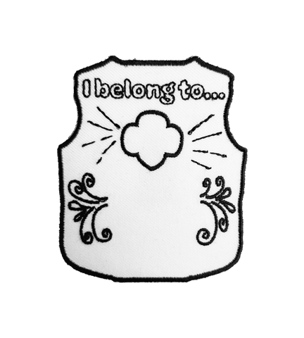 "Color Me In Girl Scout Vest, ""I belong to..."" Patch"
