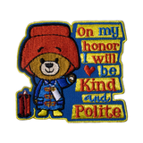 "Paddington Inspired Patch ""On my honor I will be kind and polite"""