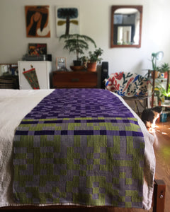 Custom Bed Runner in Royal Purple and Lime