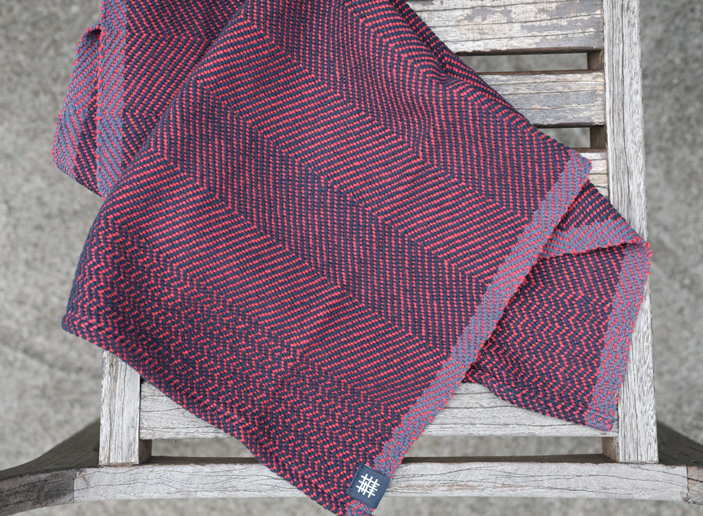 Eclipse Tea Towel: Red Denim Twill