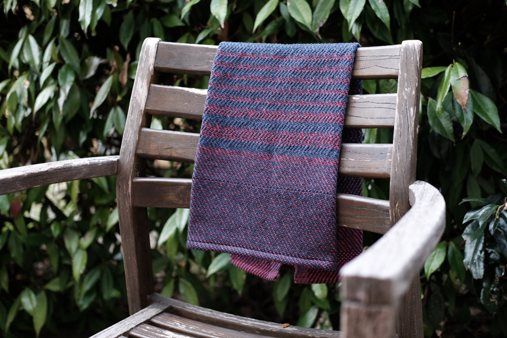 Eclipse Tea Towel: Red Denim Twill Dot
