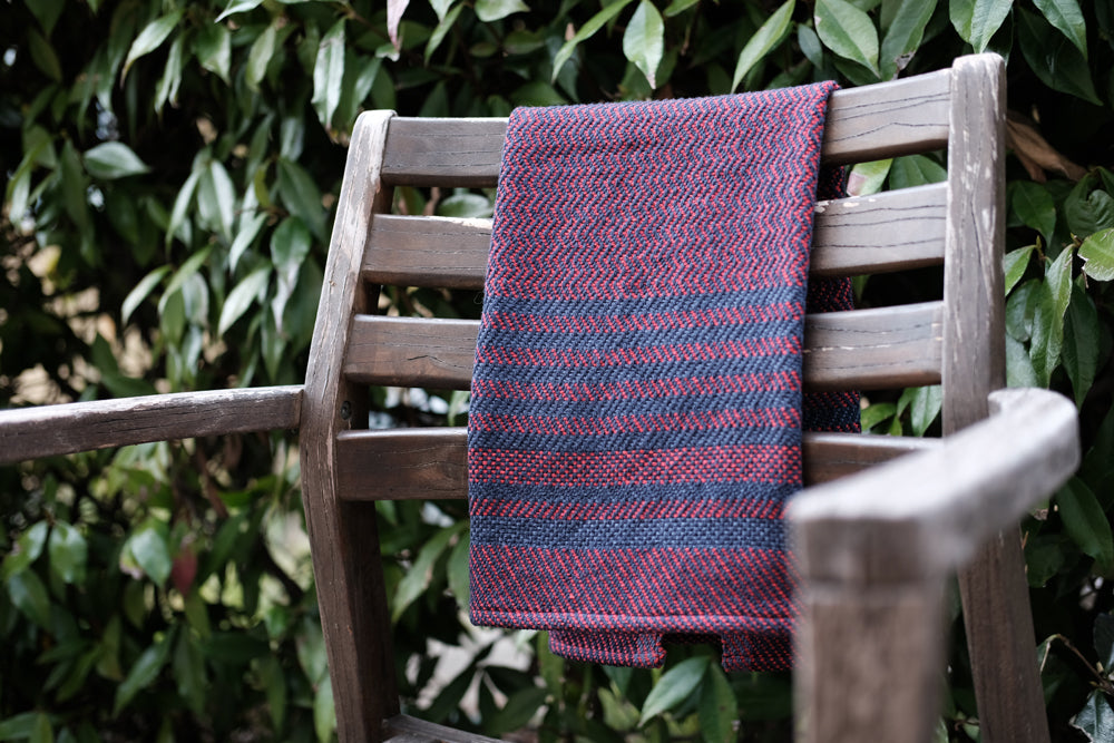 Eclipse Tea Towel: Red Denim Zig Zag Twill