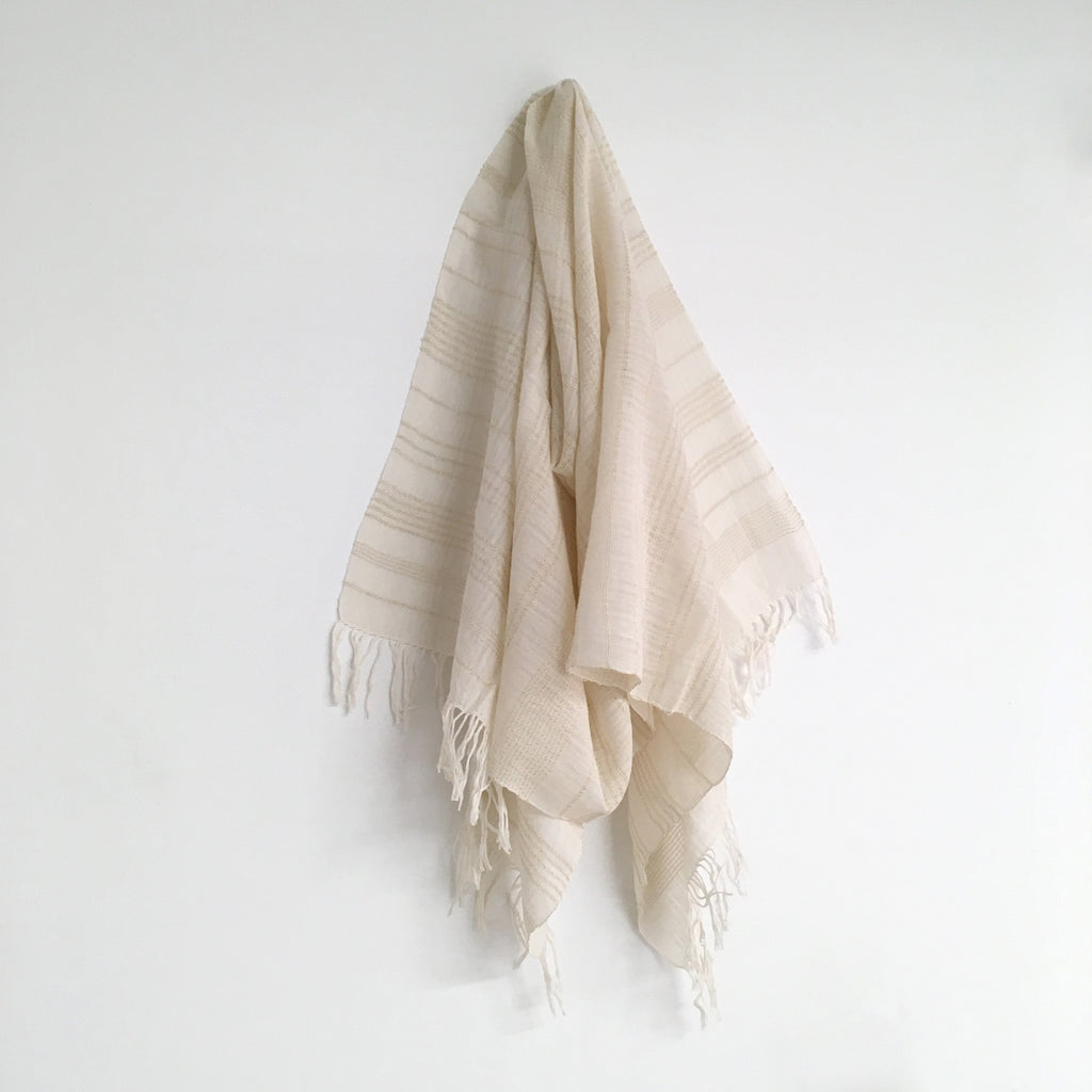 White Gold Glimmer Stripe Shawl