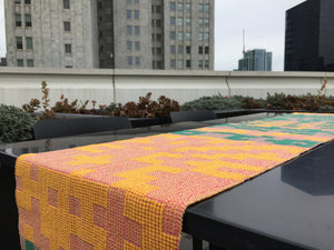 MADE TO ORDER: Geometric Table Runner: Pink/Yellow/Green
