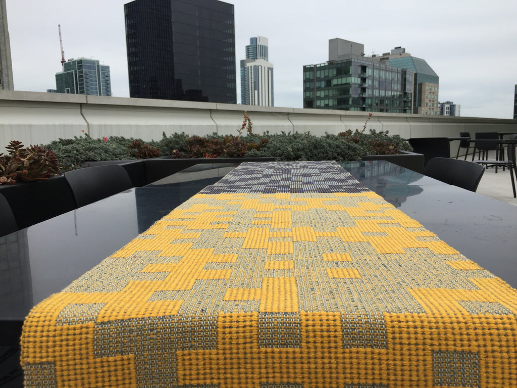 MADE TO ORDER: Geometric Table Runner: Yellow/Navy