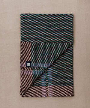 Pink and green handwoven towel for the bath or kitchen, made with American cotton.