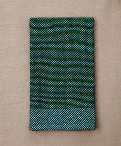Green and blue handwoven towel for the bath or kitchen, made with American cotton.
