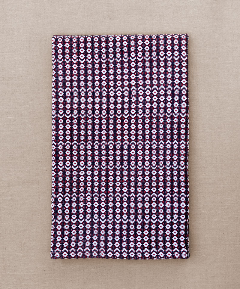 Red, navy and white rose pattern handwoven towel for the bath or kitchen, made with American cotton.