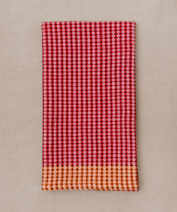 red orange blue and white handwoven towel
