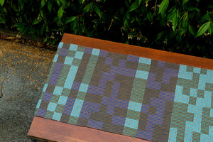 MADE TO ORDER: Geo Maze Table Runner: Denim/Blue