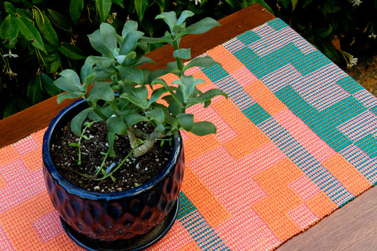 Geo Maze Table Runner: Orange/Pink/Green