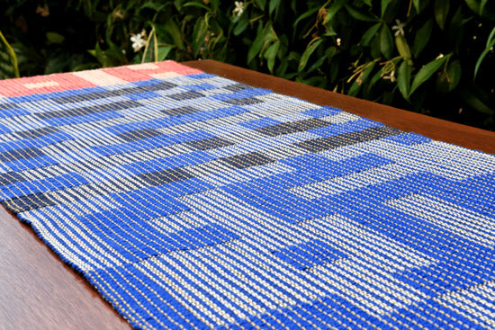 MADE TO ORDER: Geo Maze Table Runner: Navy/Blue/Red