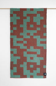 MADE TO ORDER: Geo Maze Table Runner: Sea Green/Cayenne