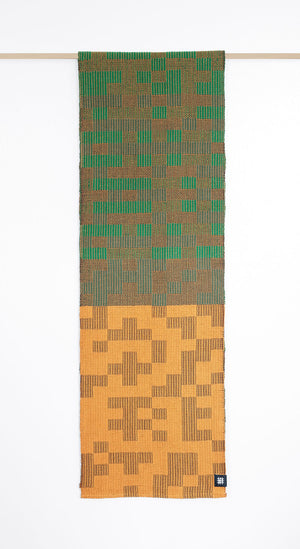 Geo Maze Table Runner: Green/Ochre