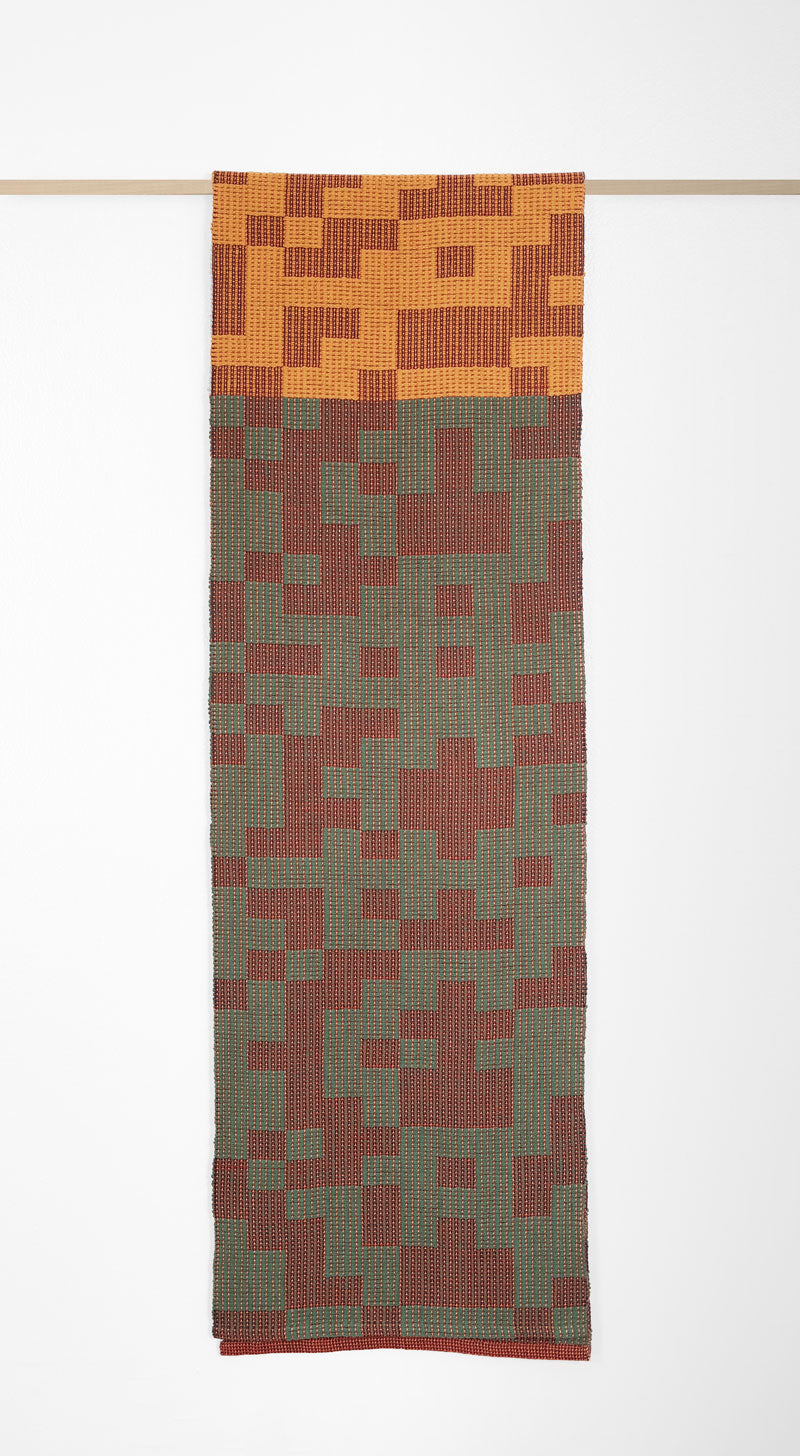 Geo Maze Table Runner: Green/Rust/Ochre