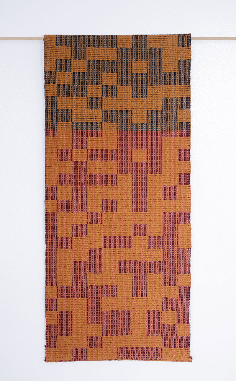 Geo Maze Table Runner: Ochre/White/Pink/Blue