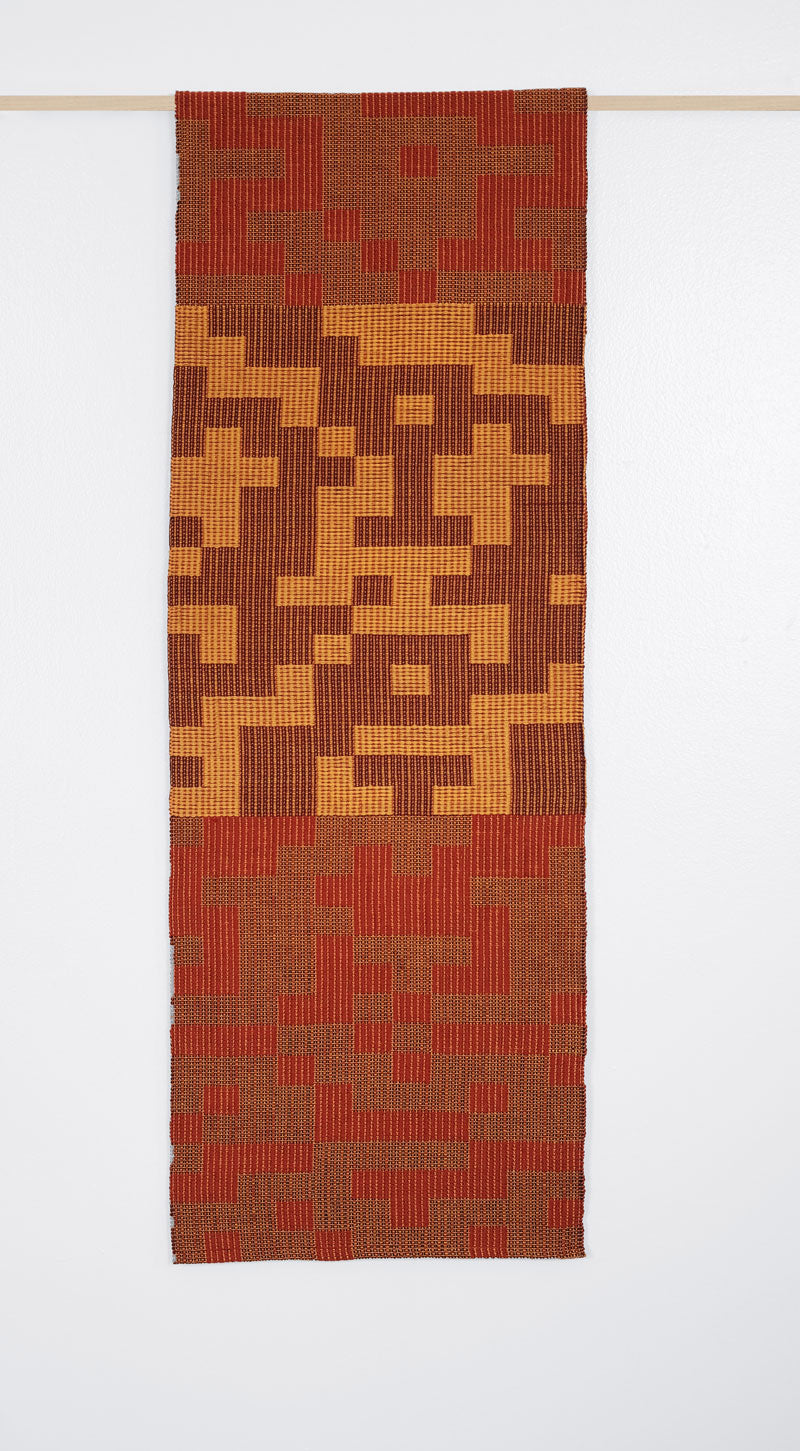 Geo Maze Table Runner: Rust/Gold