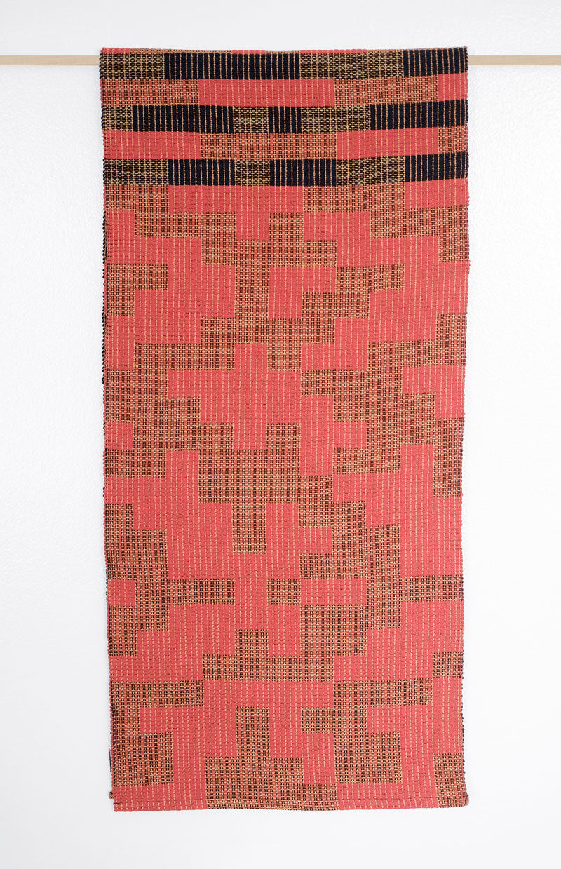 Geo Maze Table Runner: Navy/Red