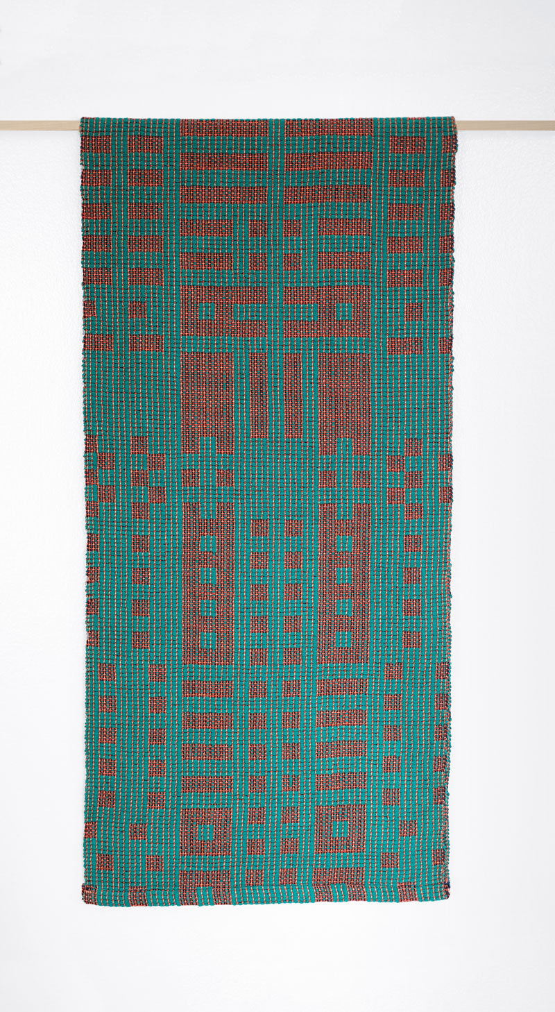 Textile Mill History Table Runner: Emerald/Cayenne