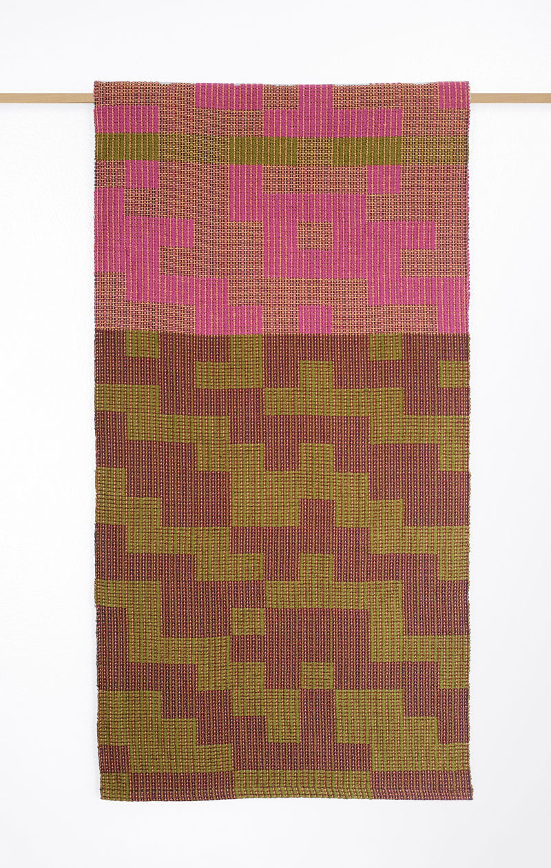 Geo Maze Table Runner: Magenta/Olive