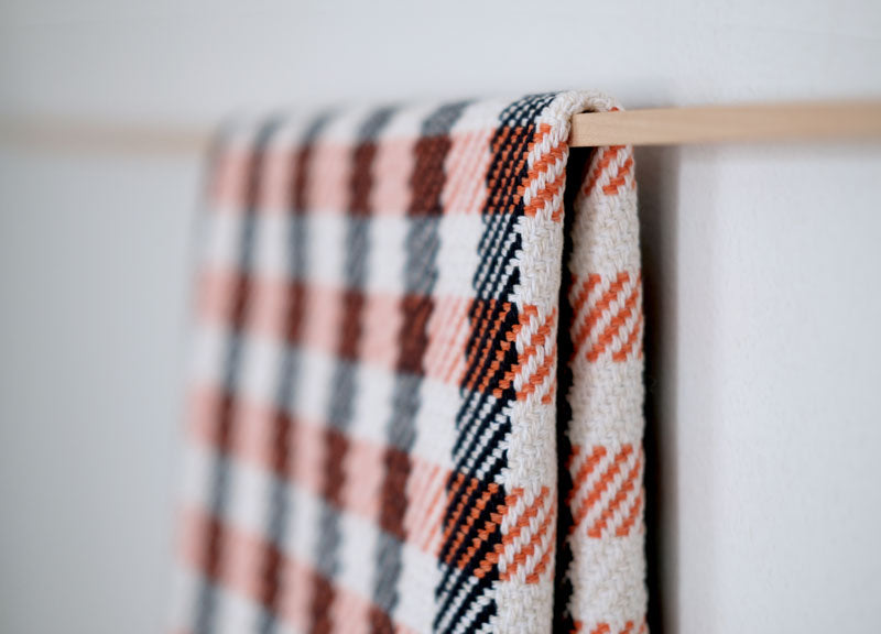 Check Tea Towel • Orange/White/Navy