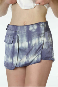 Mini Skirt In Silk Satin, Tie-Dyed