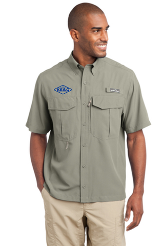 KE&G Eddie Bauer - Short Sleeve Performance Fishing Shirt Driftwood