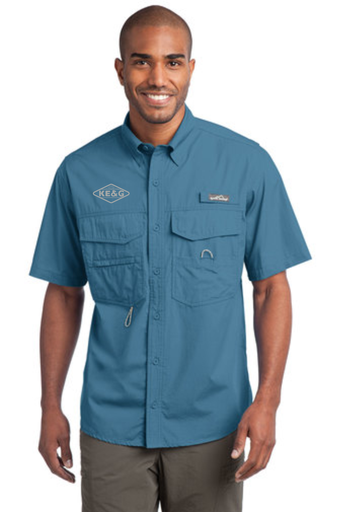 KE&G Eddie Bauer - Short Sleeve Fishing Shirt Blue Gill