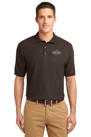 KE&G Port Authority Unisex Silk Touch Polo Coffee Bean