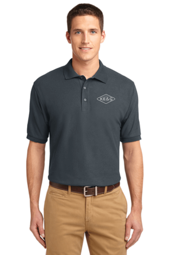 KE&G Port Authority Unisex Silk Touch Polo Steel Grey