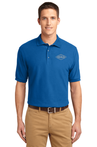 KE&G Port Authority Unisex Silk Touch Polo Strong Blue