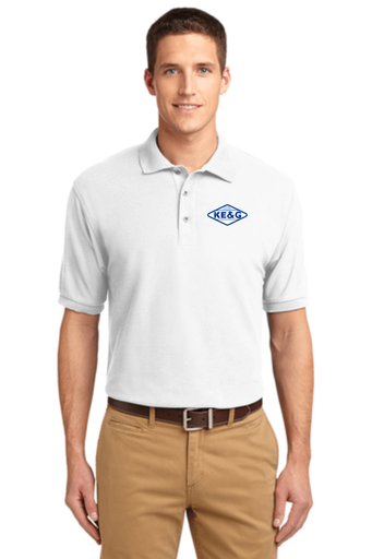 KE&G Port Authority Unisex Silk Touch Polo White
