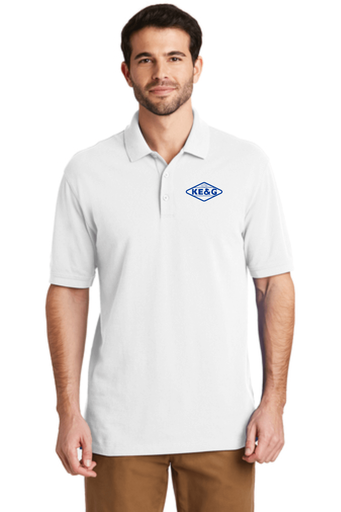 KE&G Port Authority EZCotton Polo White