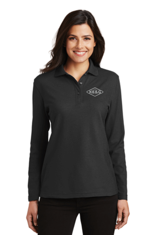 KE&G Port Authority Ladies Silk Touch Long Sleeve Polo Black