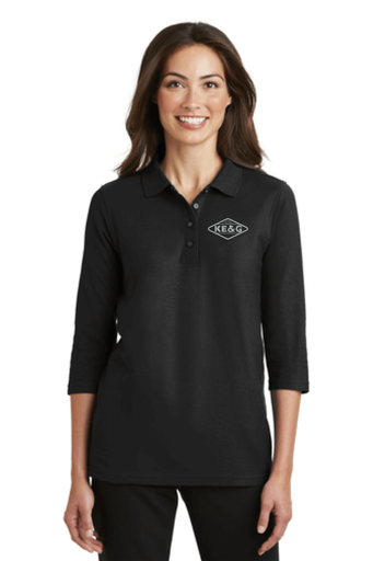 KE&G Port Authority Ladies Silk Touch 3/4-Sleeve Polo Black