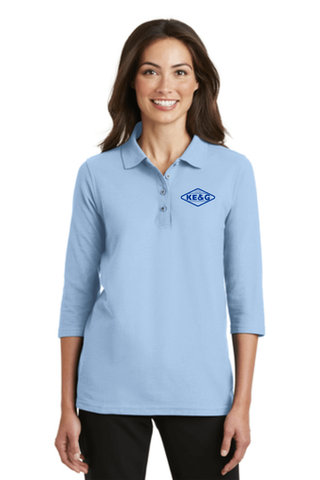 KE&G Port Authority Ladies Silk Touch 3/4-Sleeve Polo Light Blue
