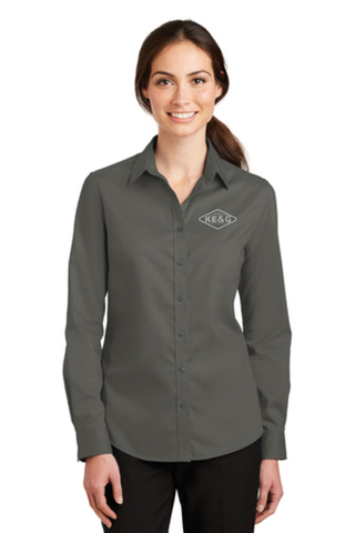KE&G Port Authority Ladies SuperPro Twill Shirt Sterling Grey