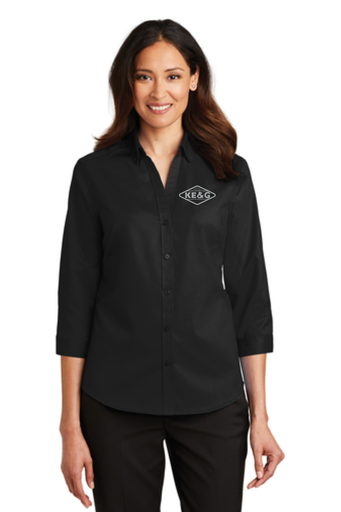 KE&G Port Authority Ladies 3/4-Sleeve SuperPro Twill Shirt Black