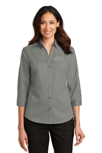 KE&G Port Authority Ladies 3/4-Sleeve SuperPro Twill Shirt Monument Grey