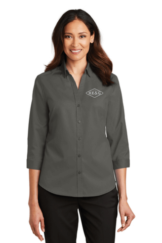 KE&G Port Authority Ladies 3/4-Sleeve SuperPro Twill Shirt Sterling Grey