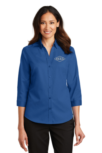 KE&G Port Authority Ladies 3/4-Sleeve SuperPro Twill Shirt True Blue