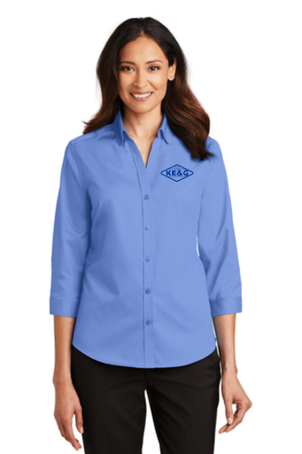 KE&G Port Authority Ladies 3/4-Sleeve SuperPro Twill Shirt Ultramarine Blue