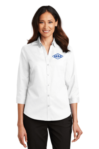 KE&G Port Authority Ladies 3/4-Sleeve SuperPro Twill Shirt White