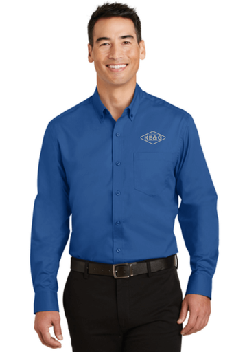 KE&G Port Authority SuperPro Twill Shirt True Blue