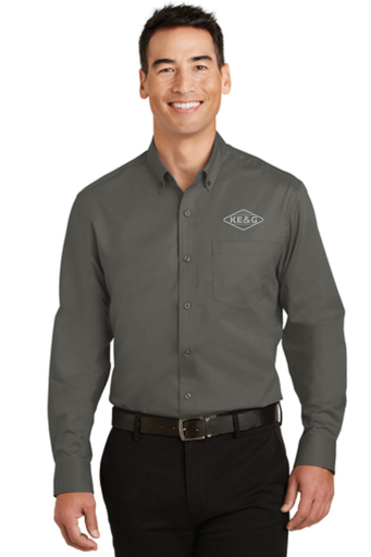 KE&G Port Authority SuperPro Twill Shirt Sterling Grey