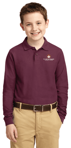 St. John's the Evangelist - Port Authority Youth Long Sleeve Silk Touch Polo