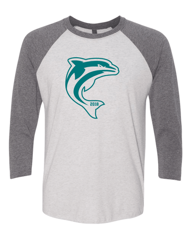 Oro Valley Dolphins 3/4 Sleeve Spirit Tri-blend T-shirt Heather White Body and Premium Heather